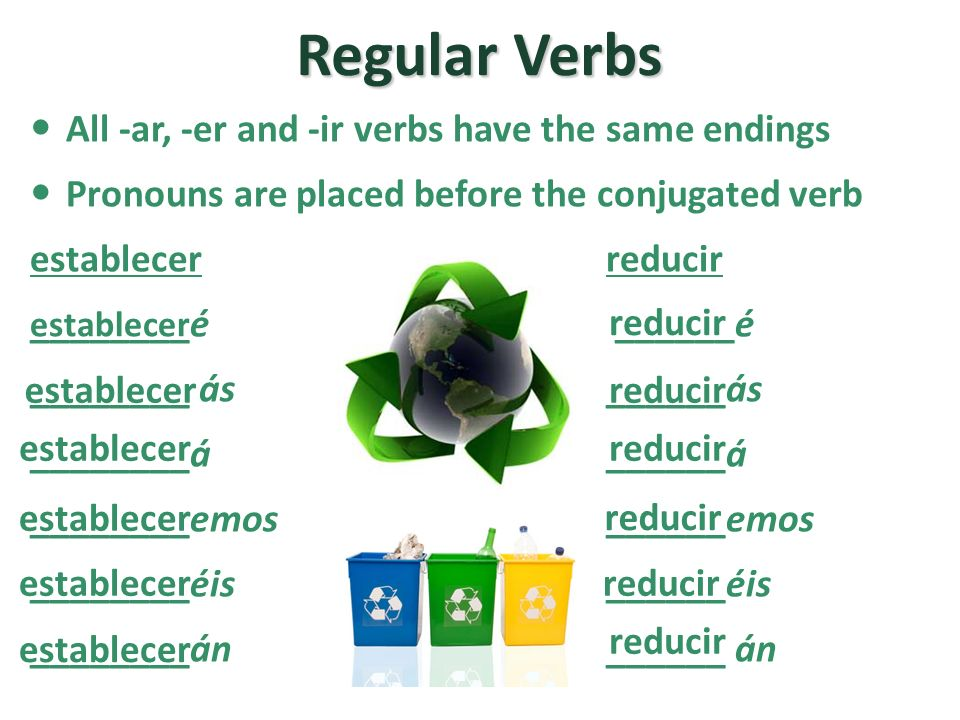 Regular Verbs All -ar, -er and -ir verbs have the same endings