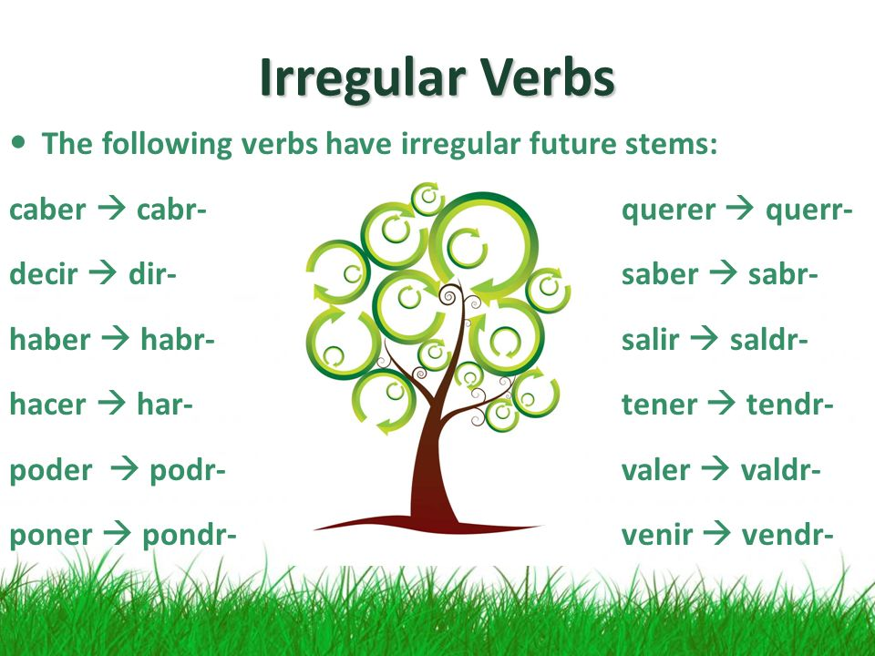 Irregular Verbs The following verbs have irregular future stems: