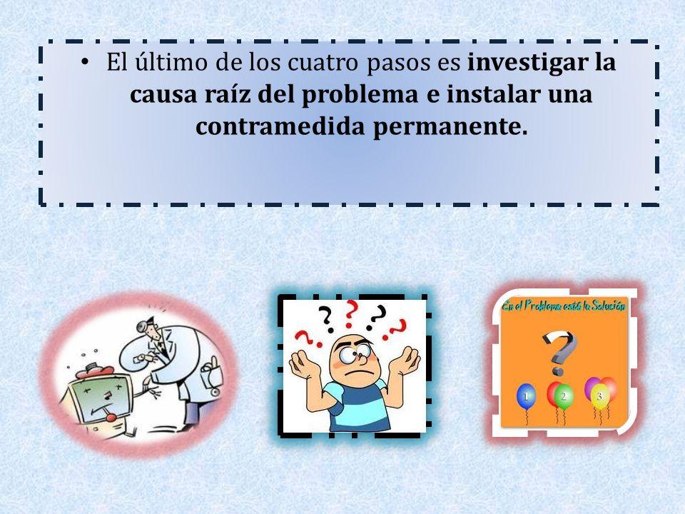 El último de los cuatro pasos es investigar la causa raíz del problema e instalar una contramedida permanente.