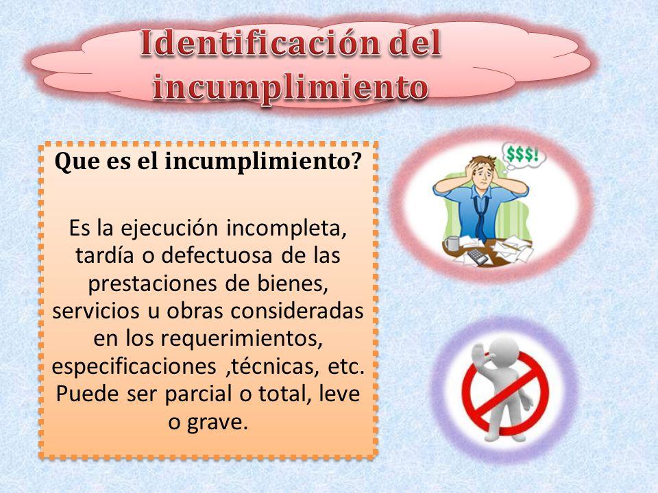 Identificación del incumplimiento