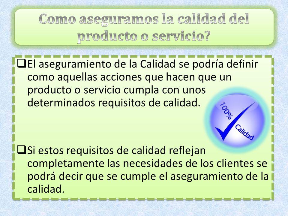 Como aseguramos la calidad del producto o servicio