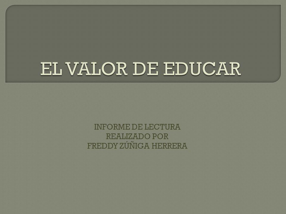 INFORME DE LECTURA REALIZADO POR FREDDY ZÚÑIGA HERRERA
