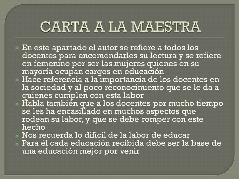 CARTA A LA MAESTRA