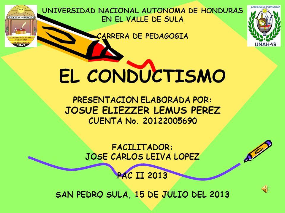 EL CONDUCTISMO JOSUE ELIEZZER LEMUS PEREZ PRESENTACION ELABORADA POR: