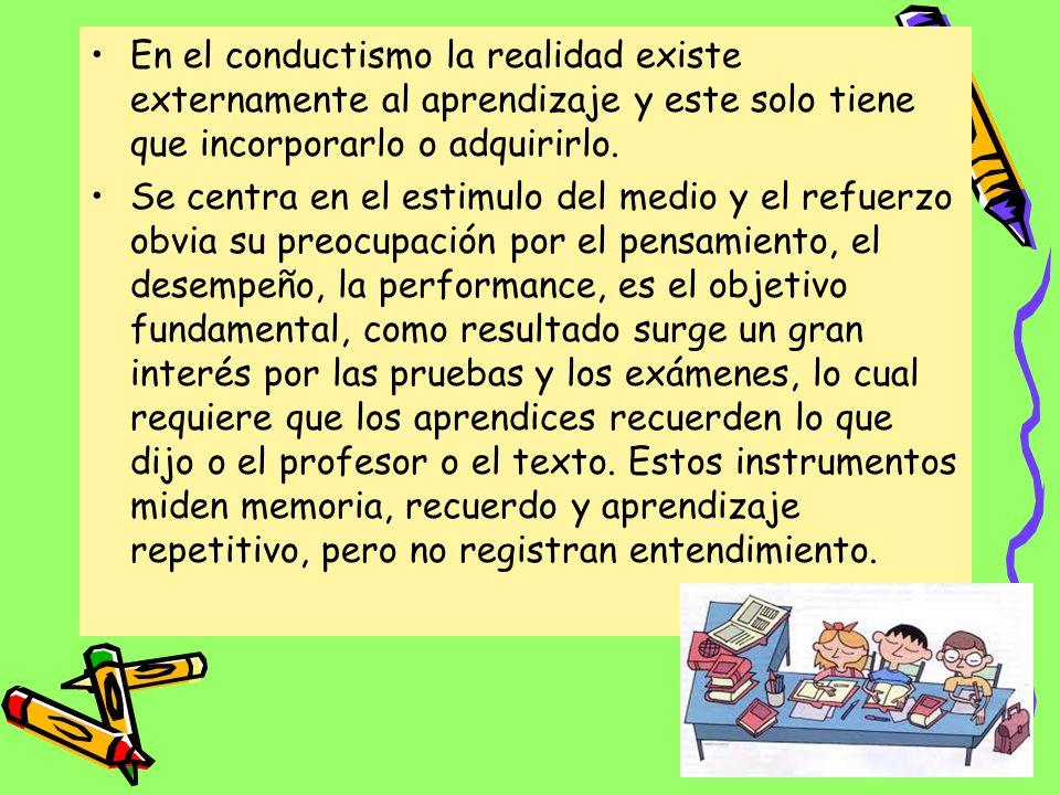 En el conductismo la realidad existe externamente al aprendizaje y este solo tiene que incorporarlo o adquirirlo.