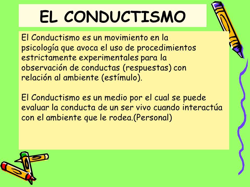EL CONDUCTISMO El Conductismo es un movimiento en la