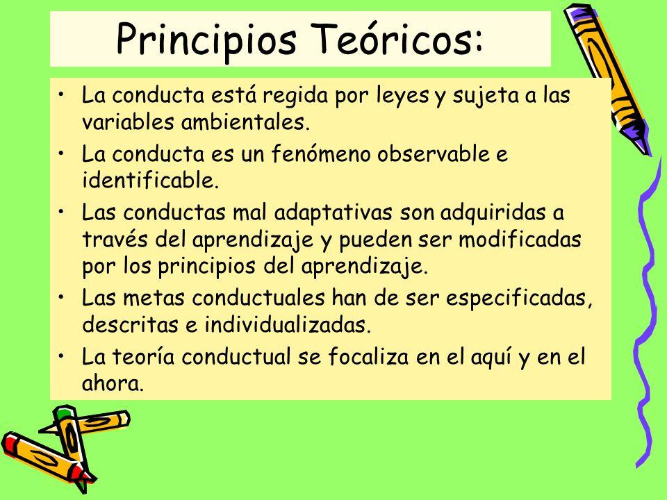 Principios Teóricos: La conducta está regida por leyes y sujeta a las variables ambientales. La conducta es un fenómeno observable e identificable.