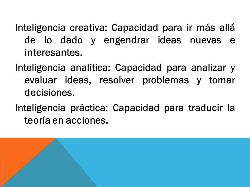 Inteligencia creativa: Capacidad para ir más allá de lo dado y engendrar ideas nuevas e interesantes.