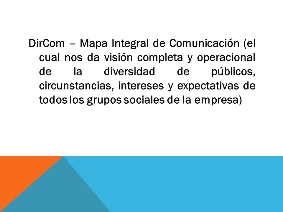 DirCom – Mapa Integral de Comunicación (el cual nos da visión completa y operacional de la diversidad de públicos, circunstancias, intereses y expectativas de todos los grupos sociales de la empresa)