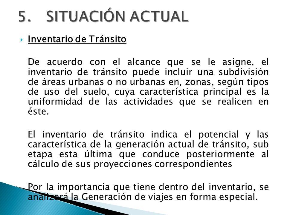 5. SITUACIÓN ACTUAL Inventario de Tránsito