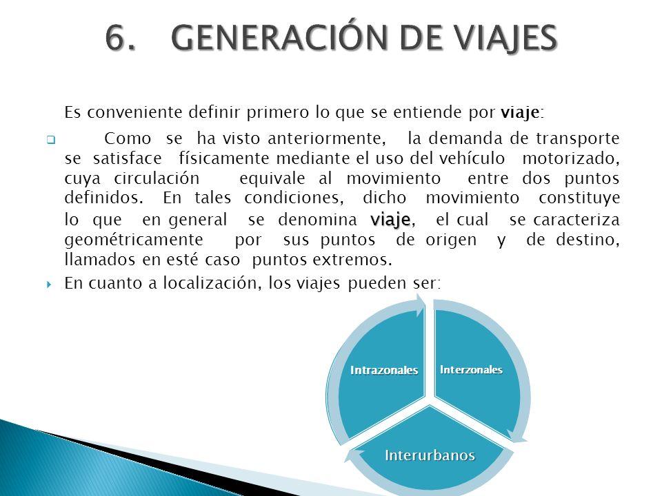 6. GENERACIÓN DE VIAJES Es conveniente definir primero lo que se entiende por viaje: