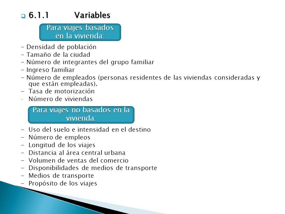 6.1.1 Variables Para viajes basados en la vivienda: