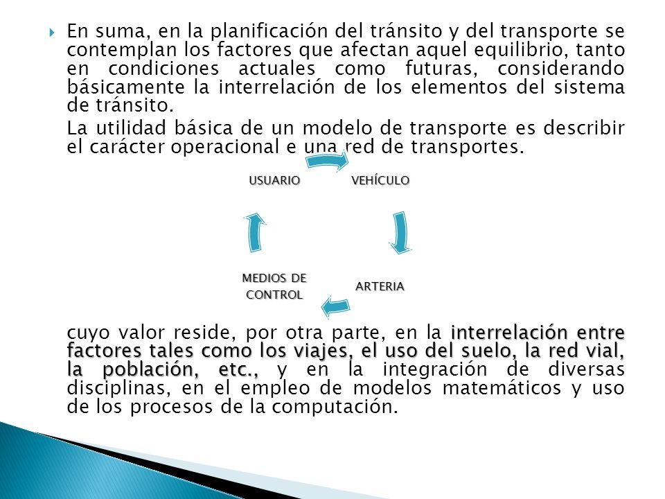 En suma, en la planificación del tránsito y del transporte se contemplan los factores que afectan aquel equilibrio, tanto en condiciones actuales como futuras, considerando básicamente la interrelación de los elementos del sistema de tránsito.