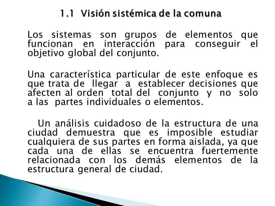 1.1 Visión sistémica de la comuna Los sistemas son grupos de elementos que funcionan en interacción para conseguir el objetivo global del conjunto.
