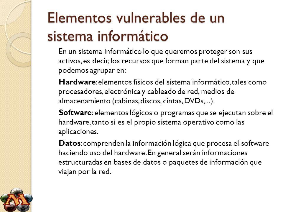 Elementos vulnerables de un sistema informático