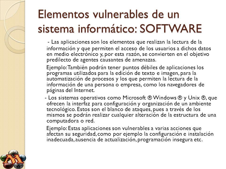 Elementos vulnerables de un sistema informático: SOFTWARE
