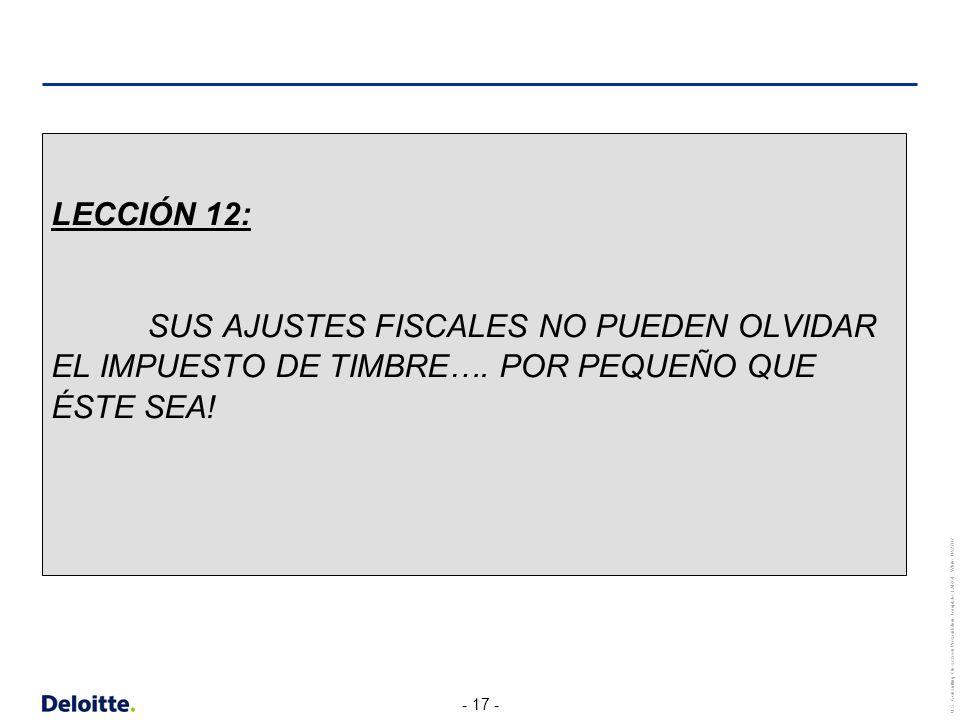 LECCIÓN 12: SUS AJUSTES FISCALES NO PUEDEN OLVIDAR EL IMPUESTO DE TIMBRE….