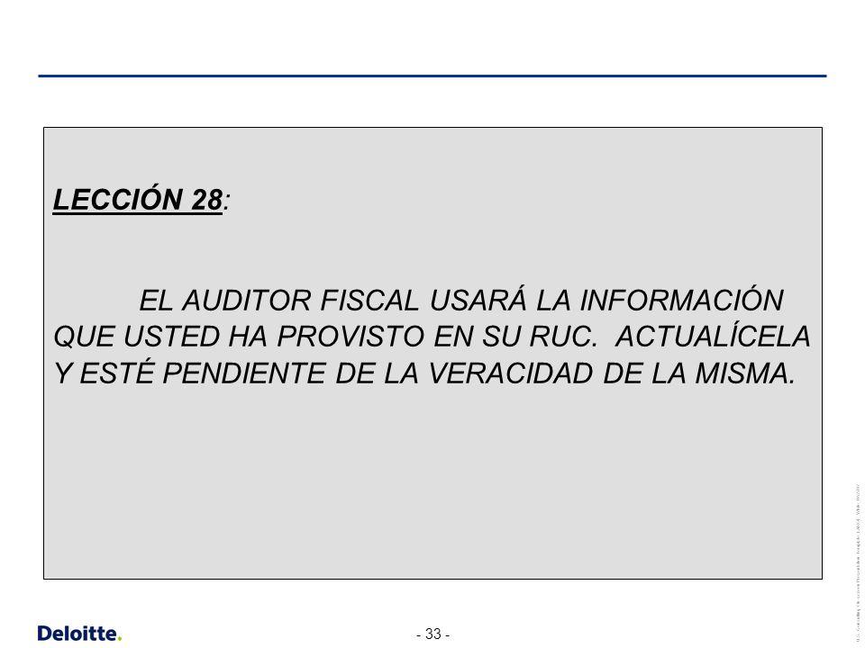 LECCIÓN 28: EL AUDITOR FISCAL USARÁ LA INFORMACIÓN QUE USTED HA PROVISTO EN SU RUC.