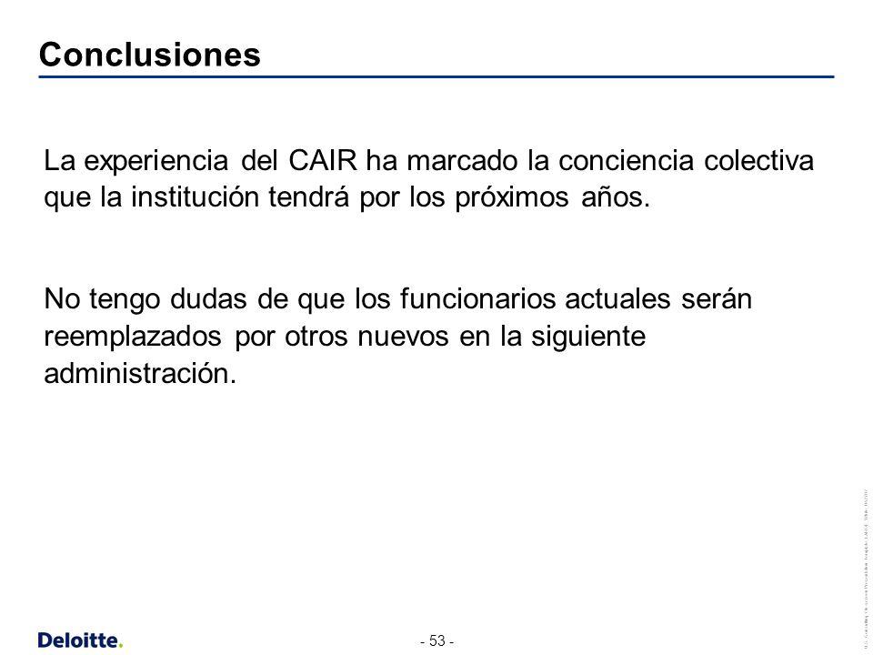 Conclusiones La experiencia del CAIR ha marcado la conciencia colectiva que la institución tendrá por los próximos años.