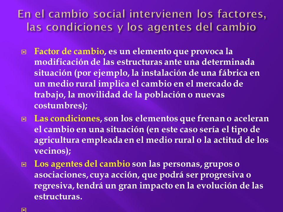 En el cambio social intervienen los factores, las condiciones y los agentes del cambio