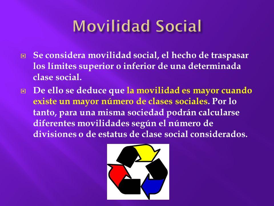 Movilidad Social Se considera movilidad social, el hecho de traspasar los límites superior o inferior de una determinada clase social.