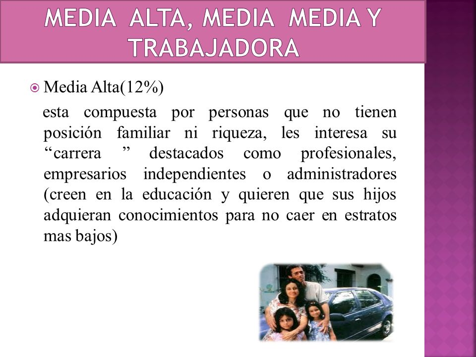MEDIA alta, media media y trabajadora