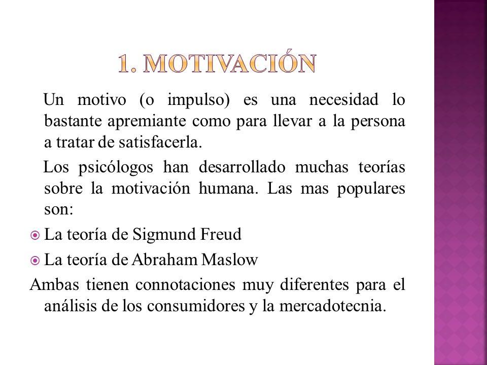 1. motivación Un motivo (o impulso) es una necesidad lo bastante apremiante como para llevar a la persona a tratar de satisfacerla.