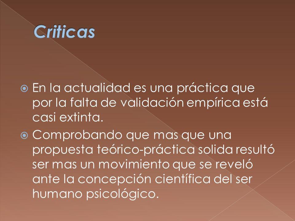 Criticas En la actualidad es una práctica que por la falta de validación empírica está casi extinta.