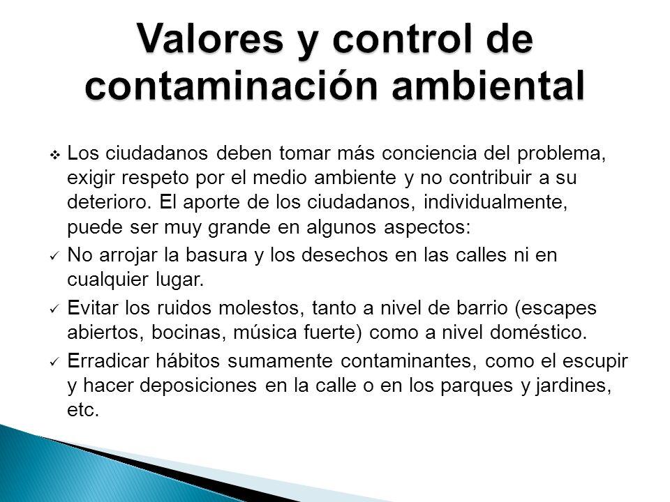 Valores y control de contaminación ambiental