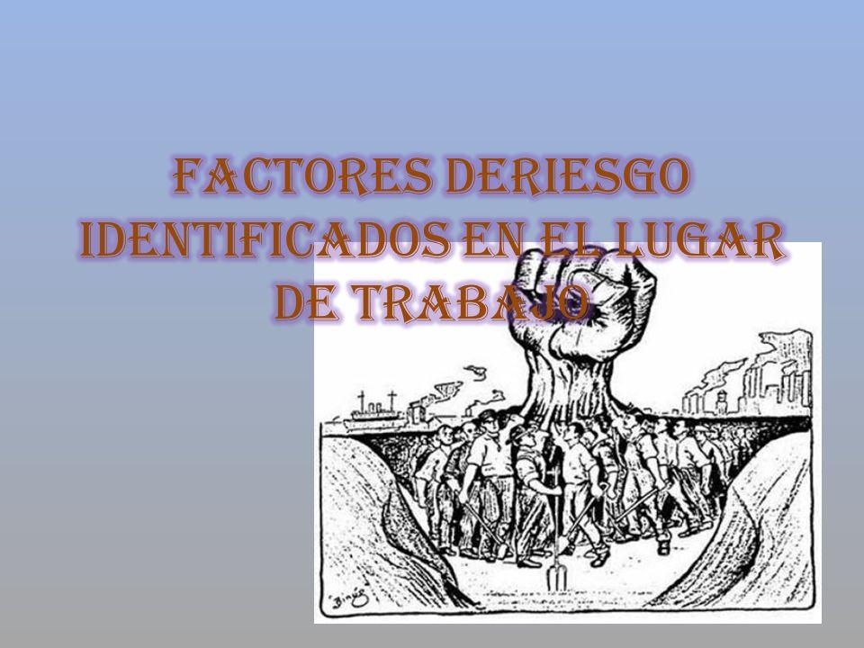 FACTORES DERIESGO IDENTIFICADOS EN EL LUGAR DE TRABAJO