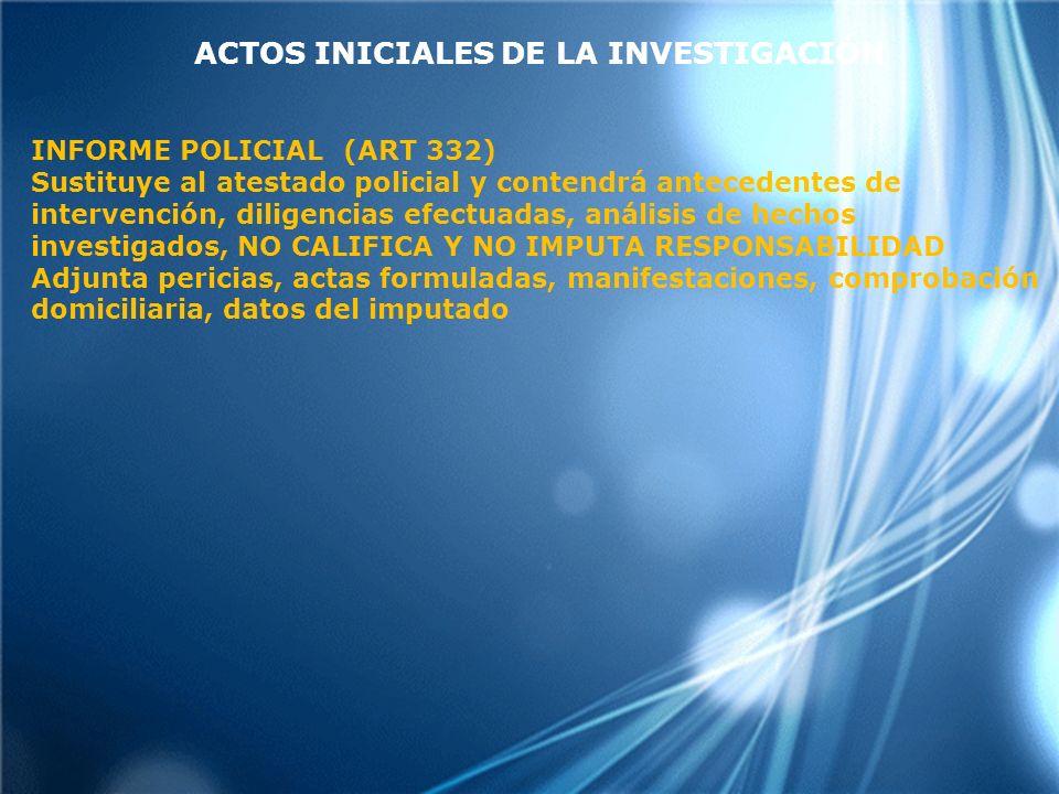 ACTOS INICIALES DE LA INVESTIGACIÓN