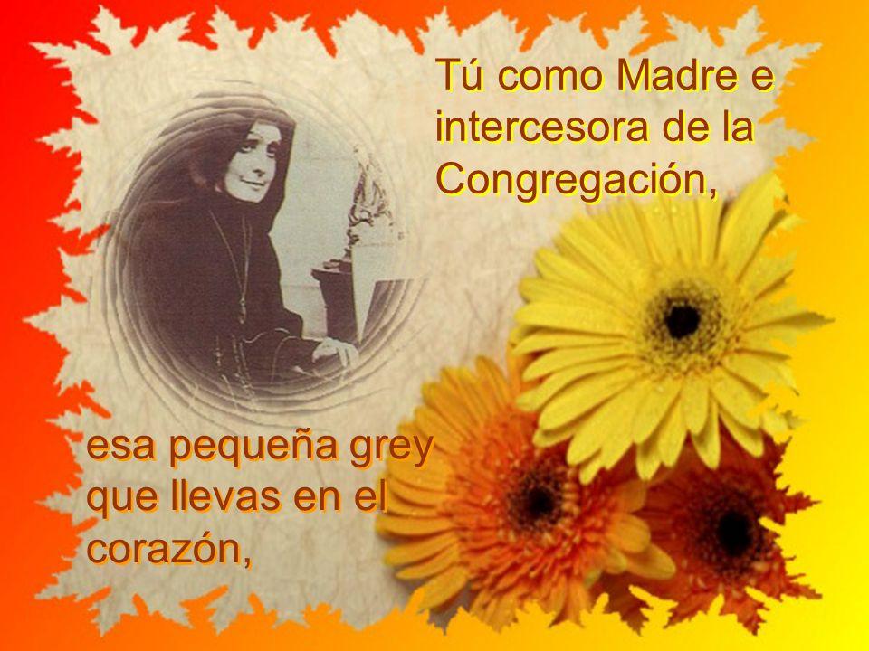 Tú como Madre e intercesora de la Congregación, esa pequeña grey que llevas en el corazón,