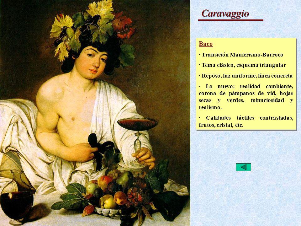Caravaggio Baco · Transición Manierismo-Barroco