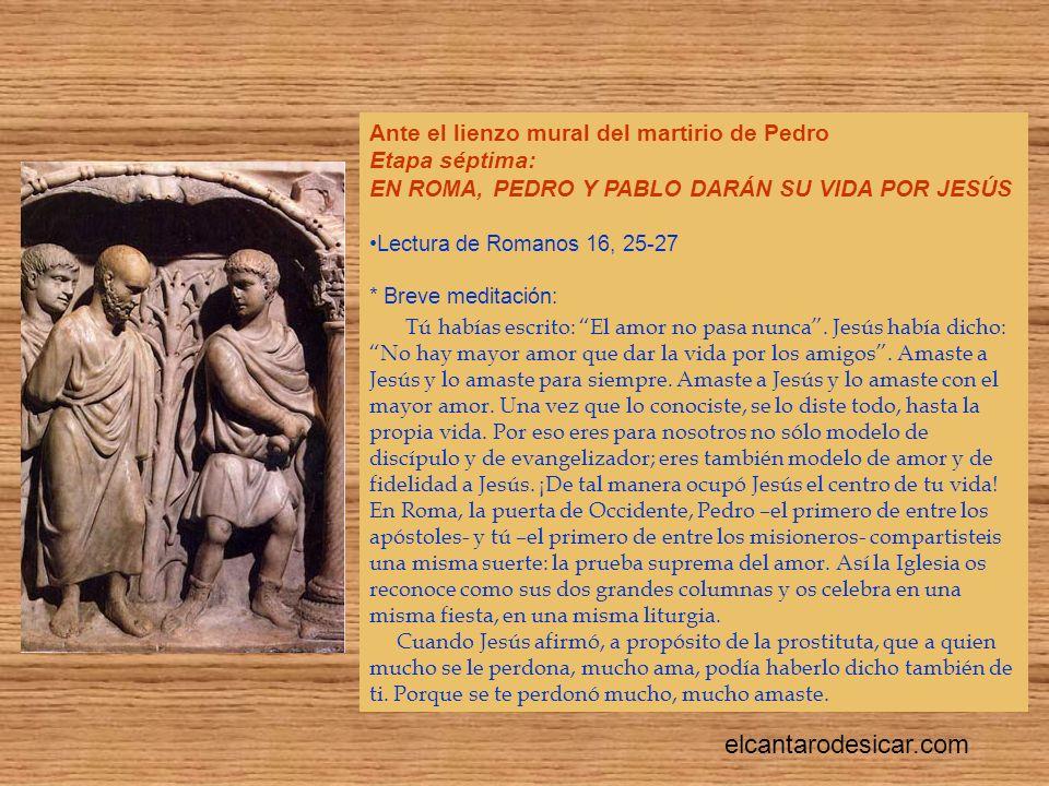 Ante el lienzo mural del martirio de Pedro