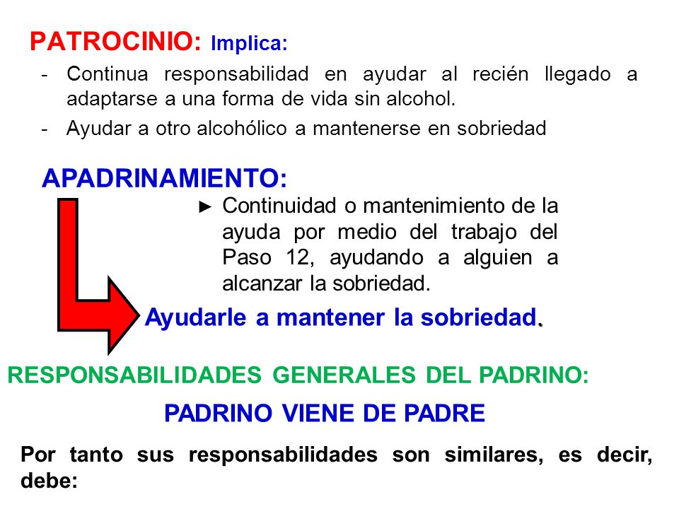 PATROCINIO: Implica: APADRINAMIENTO: Ayudarle a mantener la sobriedad.