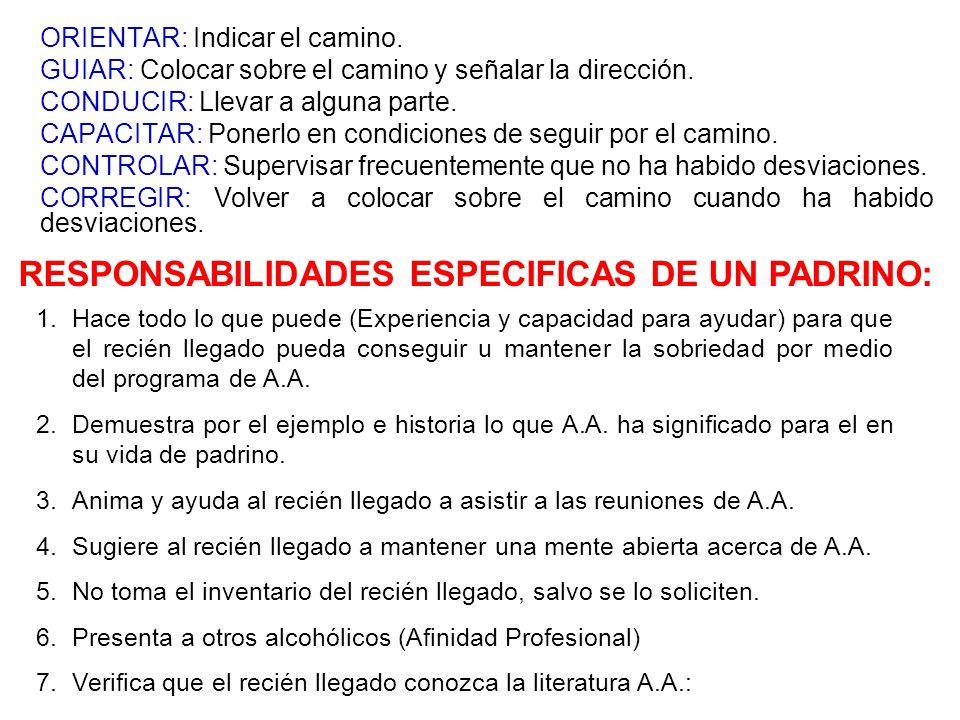 RESPONSABILIDADES ESPECIFICAS DE UN PADRINO: