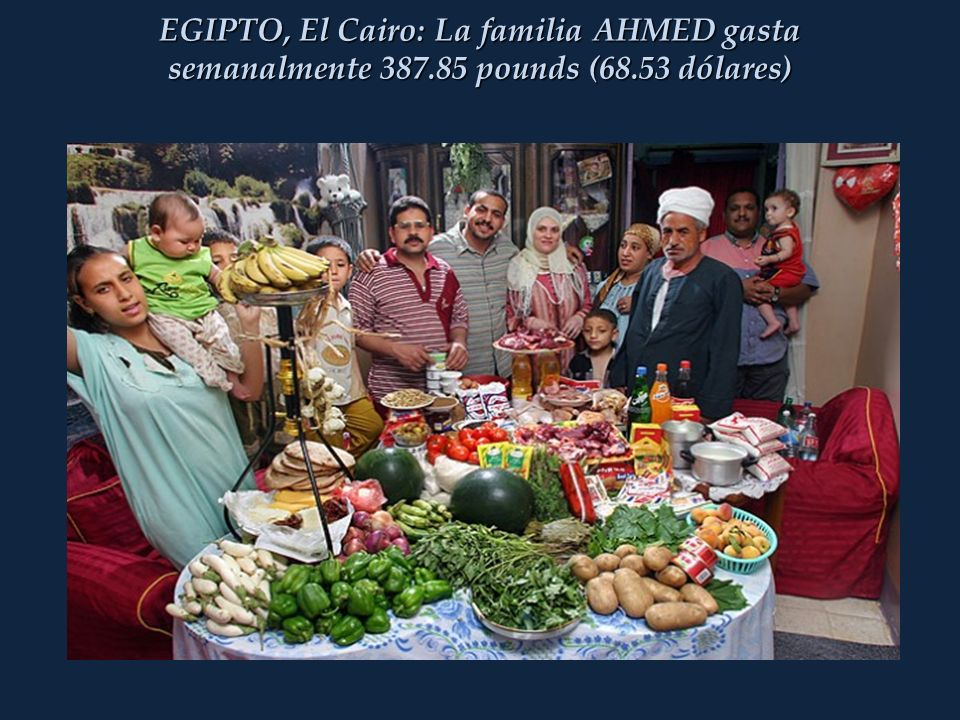 EGIPTO, El Cairo: La familia AHMED gasta semanalmente 387