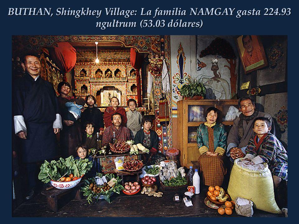 BUTHAN, Shingkhey Village: La familia NAMGAY gasta 224.93 ngultrum (53.03 dólares)