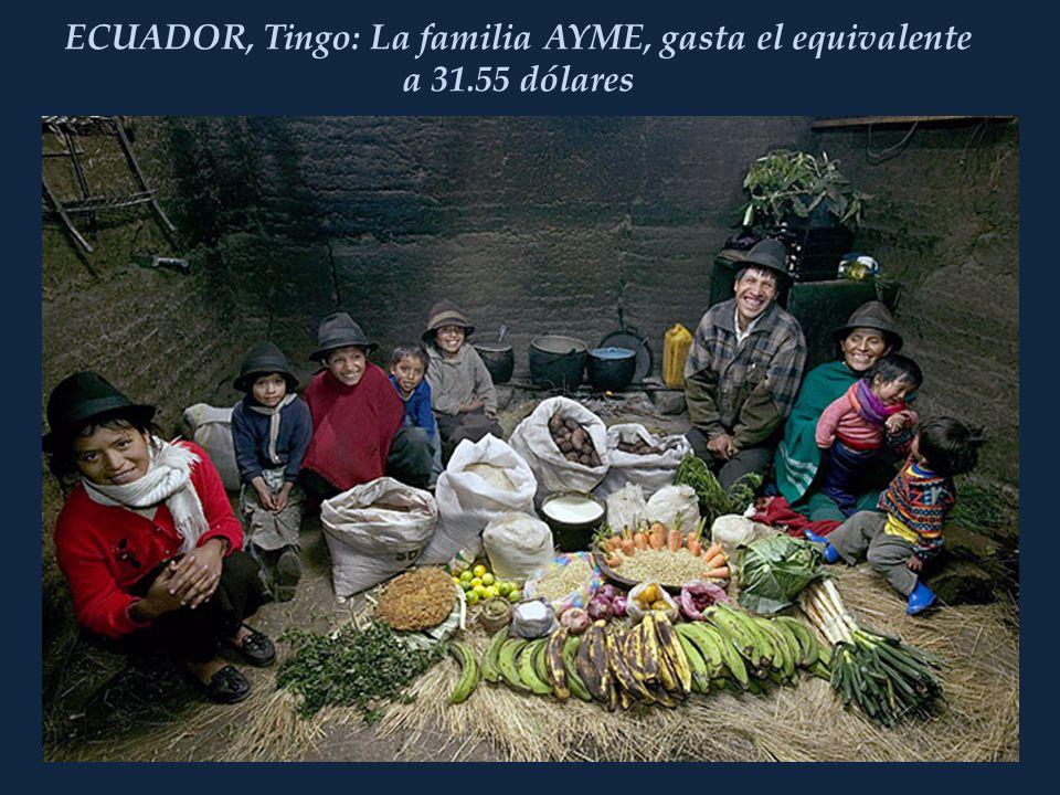 ECUADOR, Tingo: La familia AYME, gasta el equivalente a 31.55 dólares