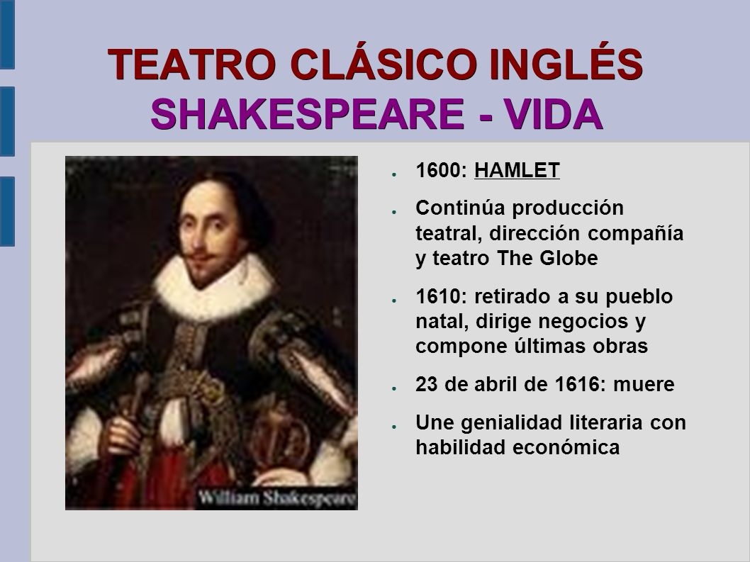 TEATRO CLÁSICO INGLÉS SHAKESPEARE - VIDA