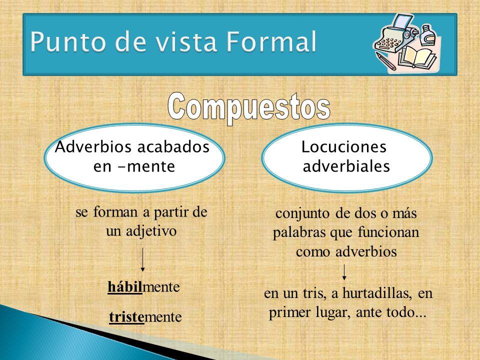 Punto de vista Formal Compuestos Adverbios acabados en -mente