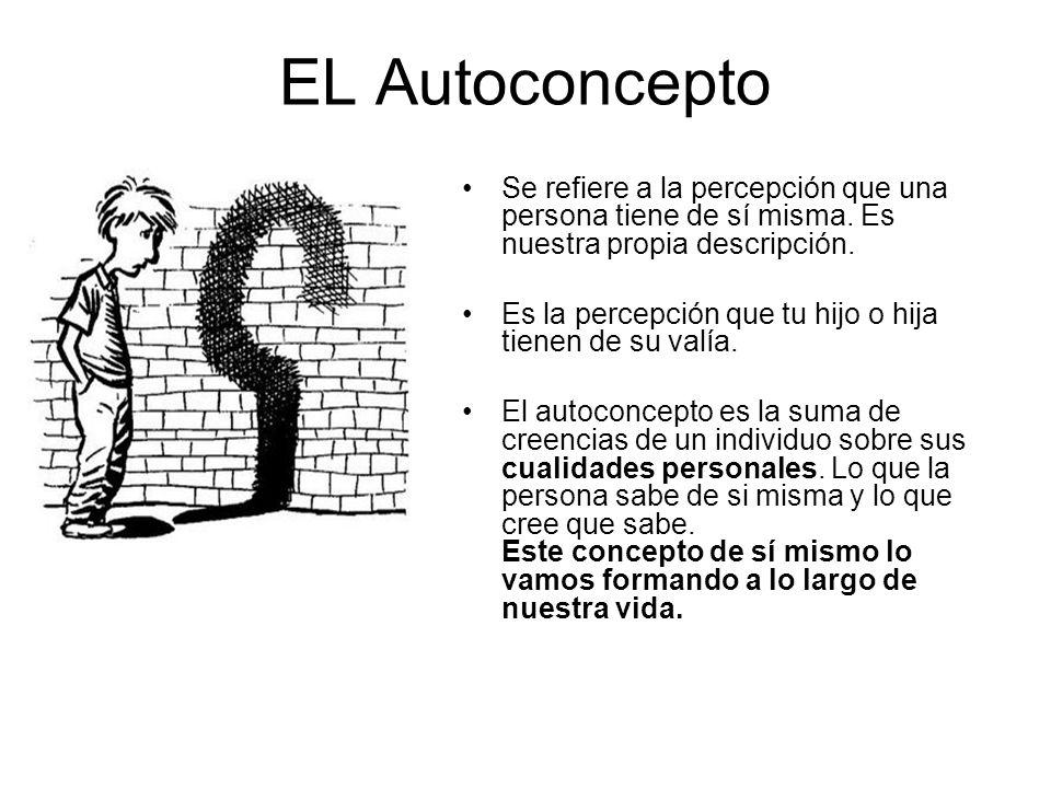 EL Autoconcepto Se refiere a la percepción que una persona tiene de sí misma. Es nuestra propia descripción.