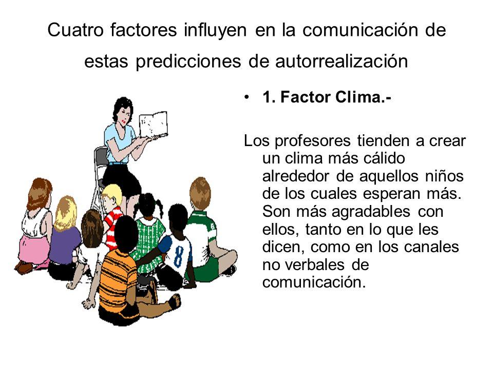 Cuatro factores influyen en la comunicación de estas predicciones de autorrealización