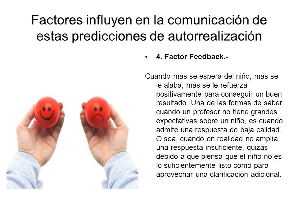 Factores influyen en la comunicación de estas predicciones de autorrealización