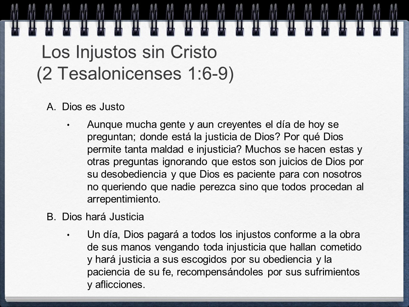 Los Injustos sin Cristo (2 Tesalonicenses 1:6-9)