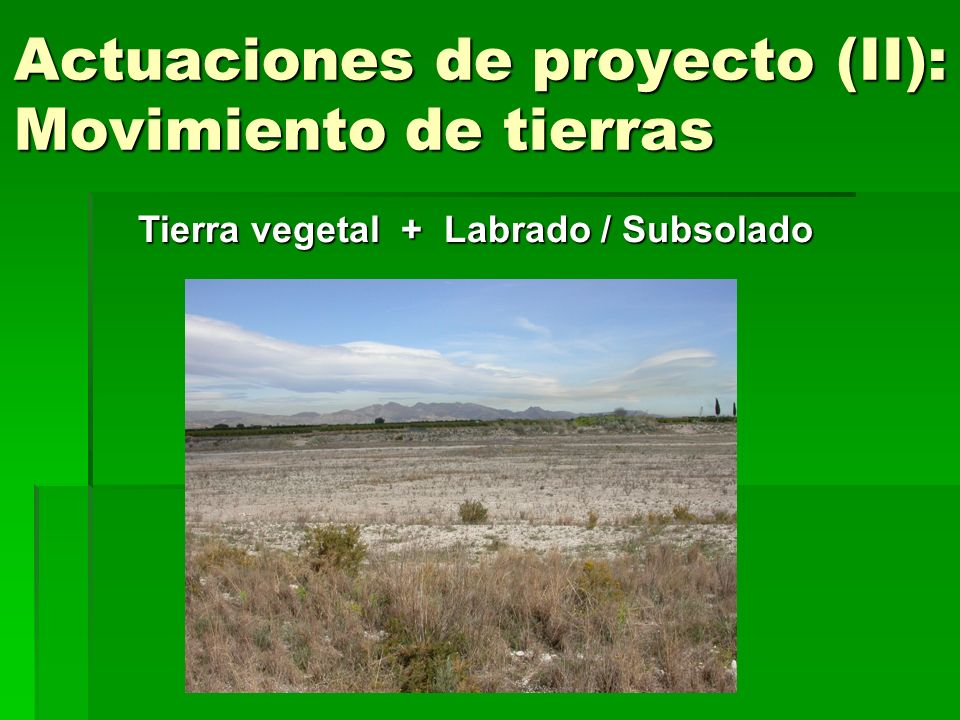 Actuaciones de proyecto (II): Movimiento de tierras