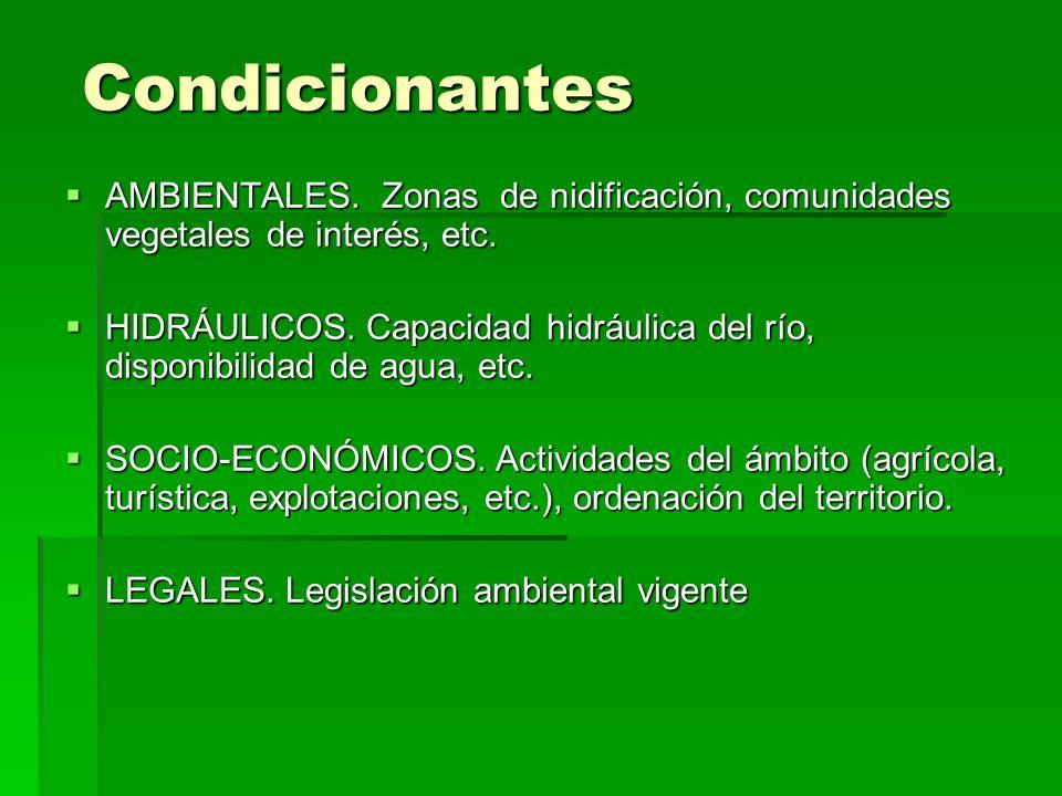 Condicionantes AMBIENTALES. Zonas de nidificación, comunidades vegetales de interés, etc.