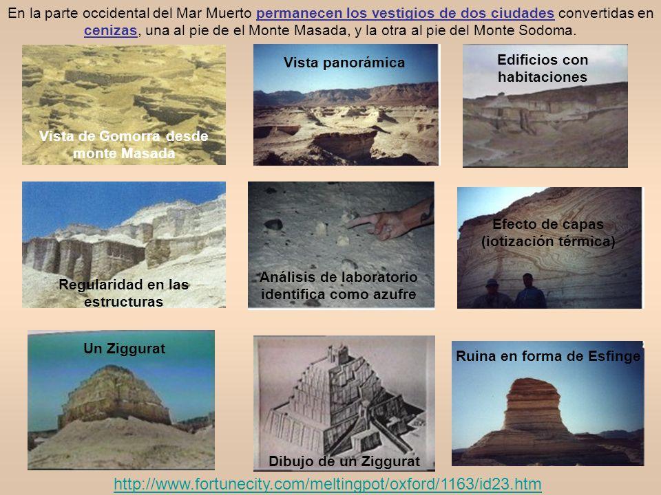 En la parte occidental del Mar Muerto permanecen los vestigios de dos ciudades convertidas en cenizas, una al pie de el Monte Masada, y la otra al pie del Monte Sodoma.