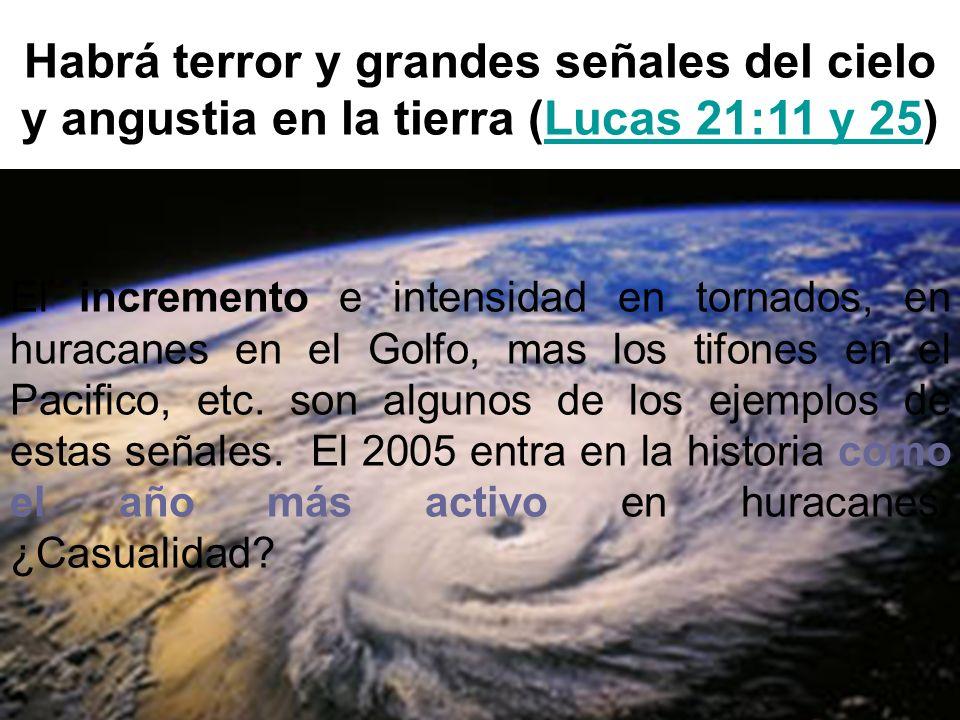 Habrá terror y grandes señales del cielo y angustia en la tierra (Lucas 21:11 y 25)