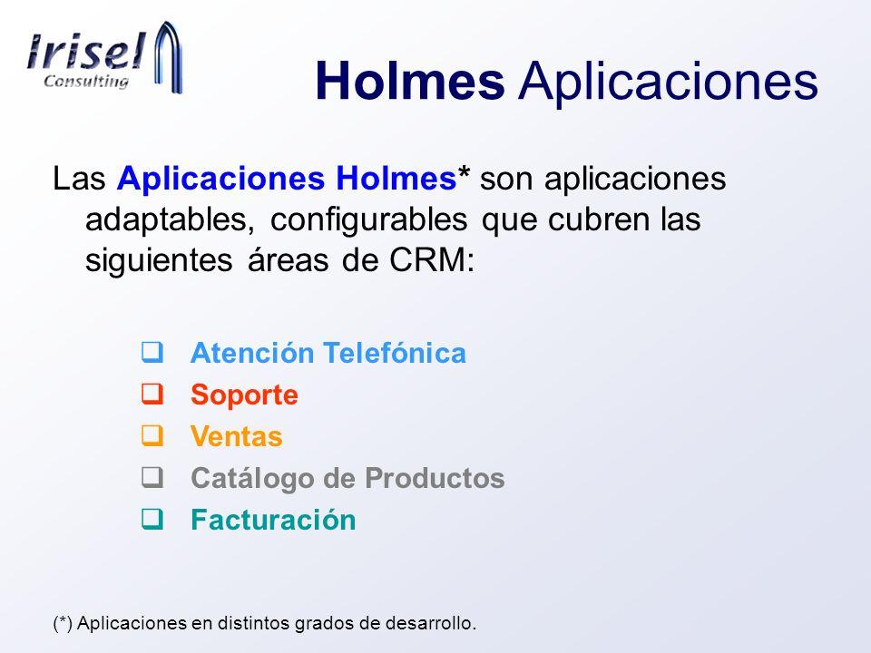 Holmes Aplicaciones Las Aplicaciones Holmes* son aplicaciones adaptables, configurables que cubren las siguientes áreas de CRM: